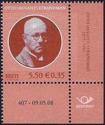 Estonia Estland Estonie 2008 (14)  Otto Strandman  (sheet Corner With Number) - Estland