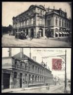 2 CPA ANCIENNES- FRANCE- REIMS (51)- LE THÉATRE TRES GROS PLAN- TRAMWAY + RUE DE NEUFCHATEL- ECOLES - Reims