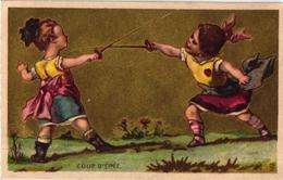 3 Trade Cards Chromo FENCING ESCRIME FECHTEN Pub Marseille Paradis Des Dames Paris La Laitière Litho - Fencing