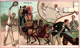 3 Trade Cards Chromo FENCING ESCRIME FECHTEN Pub Perles Du Japon Imp Bognard  Conte Fr Lourdes Sirven - Escrime