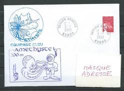 Sous Marin AMETHYSTE  - Plongée 300m  - TOULON ARMEES 03/12/03 - Poststempel (Briefe)
