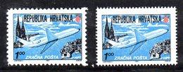CROAZIA 1991 , Posta Aerea N. 1A/B : Le Due Dentellature  ***  MNH - Croazia