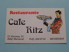 Restaurante Cafe RITZ C/. Gerona 13 Edif. Mariscal BENIDORM / 19?? ( Details Zie Foto´s) ! - Cartes De Visite