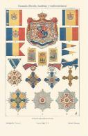 LAMINA ESPASA 19351: Escudobandera Y Condecoraciones De Rumania - Autres Collections