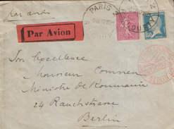 France - Letrre Par Avion Circulee En 1932 De Paris à Berlin En Avion;cachet Rouge Luftpost - 2/scan - Poste Aérienne