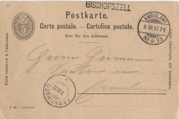 POSTKARTE → 5Rp Postkarte BISCHOFSZELL Nach Ermatingen/SH 1892  ►Balkenstempel BISCHOFSZELL ►RRR&#x25 - Ganzsachen