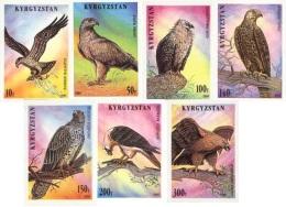 Kirgistan 1995 MNH** Mi. Nr. 74-80 B Birds Of Prey Imperforated - Kirgisistan