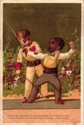1 Trade Card Chromo   FENCING ESCRIME FECHTEN Pub Maison De La Belle Jardinière  Litho Vallet Minot C1895 - Schermen