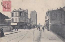 PARIS XVIII  Rue Du POTEAU Au PONT Du TRAIN De PETITE CEINTURE Angle Rue LEIBNIZ Animation CAFE TABAC Timbre 1905 - Distrito: 18