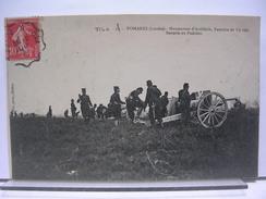 40 - POMAREZ - MANOEUVRES D'ARTILLERIE, EXERCICE DE TIR REEL -  BATTERIE EN POSITION - ANIMEE - 1909 - Other Municipalities