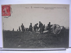 40 - POMAREZ - MANOEUVRES D'ARTILLERIE, EXERCICE DE TIR REEL -  BATTERIE EN POSITION - ANIMEE - 1909 - France