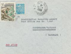 CAMBODGE - 1968  , Brief Nach Copenhagen - Cambodia