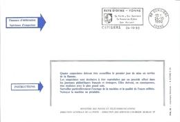 """FLAMME DE CERISIERS ( YONNE ) """" Pays D'Othe Fôret Cidre Sentiers 1992 """" Sur Document Officiel Des PTT - Poststempel (Briefe)"""