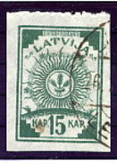 LATVIA 1919 Definitive 15 K. Without Watermark Perforated At Top, Used.  Michel 9B - Latvia