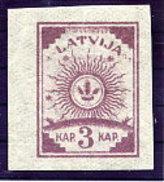 LATVIA 1919 Definitive 3 K. Without Watermark Imperforate MNH / **.  Michel 6C - Latvia