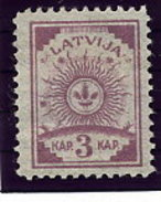 LATVIA 1919 Definitive 3 K. Without Watermark Perforated LHM / *.  Michel 6A - Latvia