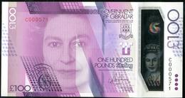 303 GIBRALTAR POLYMER New 100 Pounds Sterling Elizabeth II., Sir J. Hassan, Extremely Low Number C0000571, UNC 2016 - Gibraltar