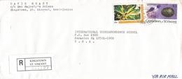 St Vincent 2001 Money Order Office Prison Flower Laughing Gull Registered Cover - St.-Vincent En De Grenadines