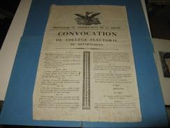 """AFFICHE ORIGINALE """"CONVOCATION COLLEGE ELECTORAL DE LA DROME"""" 1815 CENT JOURS NAPOLEON MONARCHIE DEPUTES - Afiches"""