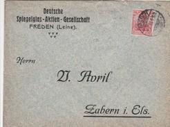 Allemagne Timbre Perforé Perfins Sur Lettre De Freden Pour L'Alsace 1913 - Cartas