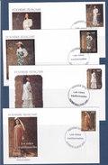 Polynésie Française, Lots De 4 Enveloppes + 1 Carte De Papeete De 2000,robes Traditionnelles N° 619/622 ( Poly17/017) - FDC