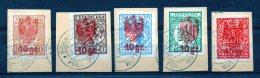 (480L) UKRAINE : POLISH OCCUPATION - COMPLETE SET ON PAPER FRAGMENT VFU 1918-1920 - Oekraïne