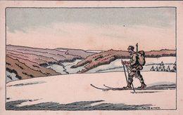 Karl Bartels, Patrouille, Soldat à Ski (1485) Petit Pli D'angle Rouille - Illustrateurs & Photographes
