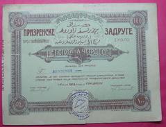 SERBIA - KOSOVO SHARE PRIZRENSKE ZADRUGE 100 DINARA U ZLATU (GOLD, 540 GROSA) 1912, TORN, BILINGUAL SERBIAN AND TUEKISH, - Serbia