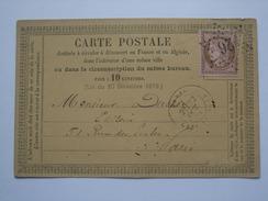 FRANCE 1874 FORMULA CARD TIED WITH 10 Cents Bistre Rose - Paris 26 Star Mark - Gare Du Nord - 1871-1875 Cérès