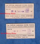 2 Tickets De Balance - 1955 - Société Anonyme Française Des Appareils Automatiques - Tickets D'entrée