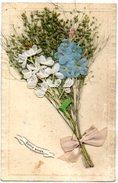 CPA FANTAISIE Avec Ajoutis Bouquet Fleurs, Ruban Tissu Et Graminés - Bonne Année - New Year