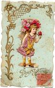 CPA FANTAISIE Doux Souvenir Avec Ajoutis Enfant Portant Hotte De Fleurs Dans Le Dos - Bordure Ciselée Et Frise Dorée - - Autres