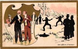 3Trade Cards Chromo FENCING ESCRIME FECHTEN Pub Moka Leroux LITHO Courbe-Rouzet Choc GuyenneLith Champenois - Schermen