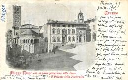 AREZZO PIAZZA VASARI CON LA PARTE POSTERIORE DELLA PIEVE - Arezzo