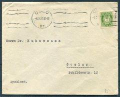 1937 Norway 7 Ore Posthorn Cover. Oslo - Goslar, Germany - Norway