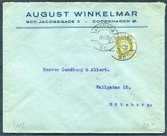 1922 Norway 20ore Green Posthorn August Winkelmar Copenhagen Denmark Cover. Kristiania - Goteborg, Sweden - Norway