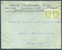 1922 Norway 40 Ore Rate Cover (2 X 20ore Green Posthorn) Skien - Zossenheim & Partners, Leeds, England - Norway