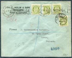 1922 Norway 80 Ore Rate Registered Cover (4 X 20ore Green Posthorn) Kristiania Machine + Cds - Zossenheim,Leeds England - Norway