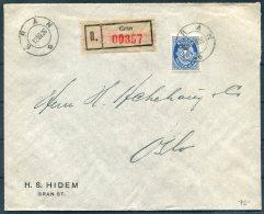 1926 Norway 40 Ore Blue Posthorn Registered Cover Gran - Oslo - Norway