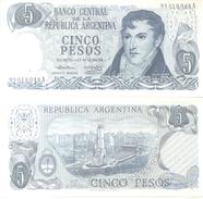 BILLETE BILLET BANCO CENTRAL DE LA REPUBLICA ARGENTINA CINCO PESOS TBE GENERAL MANUEL BELGRANO 1969 - Argentina