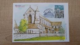 Carte Maxi - Illustration De Roland Irolla : 1er Jour Abbaye De Pontigny - Maximum Cards