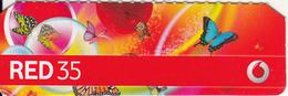 QATAR - Butterflies, Vodafone Mini Prepaid Card QR 35, Used