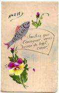CPA FANTAISIE En CELLULOID Numerotée Avec Poisson Et Fleurs Peintes Et Message - April Fool's Day