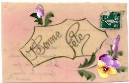 CPA FANTAISIE En CELLULOID  - Bonne Fete Inscrit Dans Un Cadre Entouré De Fleurs - Fancy Cards