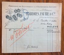 FATTURA PUBBLICITARIA  PARIS  1920 BARDIES FAUR & C. BIJOUTERIE &  D' ORFEVRERIE ARGENT - Francia