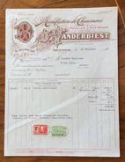 FATTURA PUBBLICITARIA  ISEGHEM BELGIQUE   MANUFACTURE DE CHAUSSURES. CALZATURIFICIO VANDERBIEST - 1900 – 1949