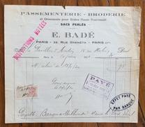 FATTURA PUBBLICITARIA  1920.  E.BADE'ASSEMENTERIE BRODERIE  POUR MODES  CON MARCA DA BOLLO - Francia