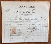 FATTURA PUBBLICITARIA  1919 VANNERIES  LOUIS BELLAN  CON MARCA DA BOLLO - Francia