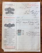 FATTURA PUBBLICITARIA  1920  CARBONE ANTRACITE CHARBOS BOIS COKESBANTHACITRES CON MARCA DA BOLLO - Francia