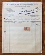 FATTURA PUBBLICITARIA  1927 M.BASTOCK  & F. FABRIQUE DE MAROQUINERIE  FINE  CON MARCA DA BOLLO - 1900 – 1949